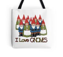 I Love Gnomes: Cute Hand Drawn Group of Gnomes Tote Bag