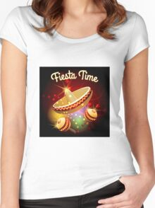 fiesta time theme Women's Fitted Scoop T-Shirt