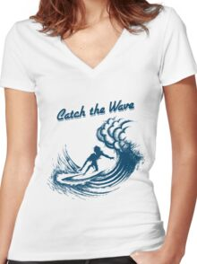 Surfer riding big wave  Women's Fitted V-Neck T-Shirt