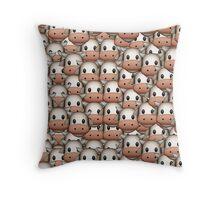 Cow Emoji Pattern Throw Pillow