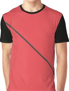 Modern Minimalistic Black Stripe on Coral Red Graphic T-Shirt