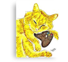 Sleepy Yellow Kitty with Gaming Controller  Canvas Print