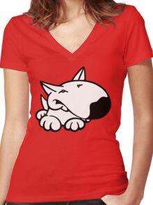 English Bull Terrier Cartoon 3 Women's Fitted V-Neck T-Shirt