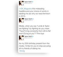 Taylor Sassy Swift Tweets Canvas Print