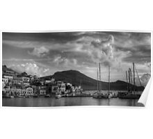 Yachts at the small pier B&W Poster