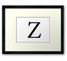 Zeta Greek Letter Framed Print