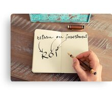 Motivational concept with handwritten text ROI as RETURN ON INVESTMENT Canvas Print