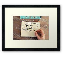 Motivational concept with handwritten text SOCIAL NETWORK Framed Print