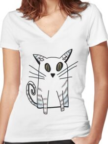 Blue Kitten Women's Fitted V-Neck T-Shirt