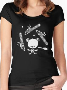 Cute Teddy Juggling 2 Balls, 3 Chainsaws and Club Women's Fitted Scoop T-Shirt