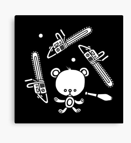 Cute Teddy Juggling 2 Balls, 3 Chainsaws and Club Canvas Print