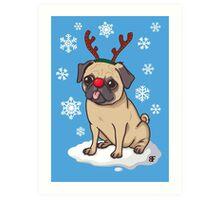 Pug Reindeer  Art Print