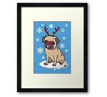 Pug Reindeer  Framed Print