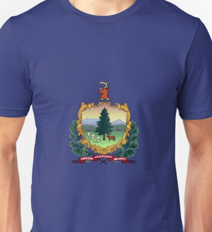 Blue Flag and Coat of Arms of Vermont Unisex T-Shirt