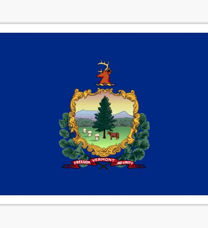 Blue Flag and Coat of Arms of Vermont Sticker