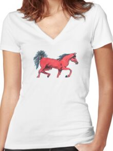 red horse. Women's Fitted V-Neck T-Shirt