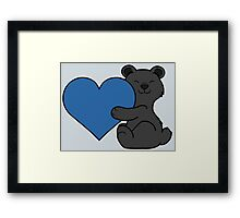 Valentine's Day Black Bear with Blue Heart Framed Print