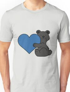 Valentine's Day Black Bear with Blue Heart Unisex T-Shirt