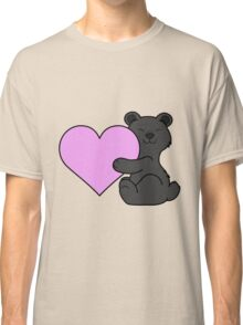 Valentine's Day Black Bear with Light Pink Heart Classic T-Shirt