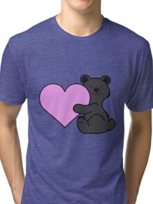 Valentine's Day Black Bear with Light Pink Heart Tri-blend T-Shirt