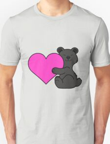Valentine's Day Black Bear with Pink Heart Unisex T-Shirt