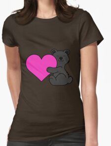 Valentine's Day Black Bear with Pink Heart Womens Fitted T-Shirt