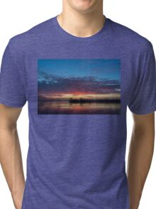 Bright Pink Sunrise With a Tiny Crescent Moon Tri-blend T-Shirt