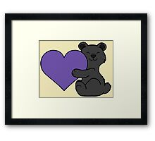 Valentine's Day Black Bear with Purple Heart Framed Print
