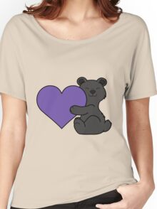 Valentine's Day Black Bear with Purple Heart Women's Relaxed Fit T-Shirt