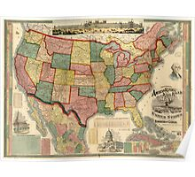 Centennial American Republic And Railroad Map of the United States and of the Dominion of Canada - 1875 Poster