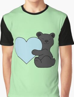 Valentine's Day Black Bear with Light Blue Heart Graphic T-Shirt