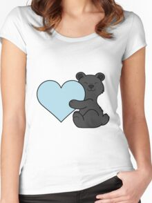 Valentine's Day Black Bear with Light Blue Heart Women's Fitted Scoop T-Shirt