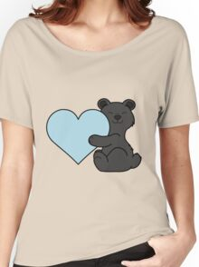 Valentine's Day Black Bear with Light Blue Heart Women's Relaxed Fit T-Shirt