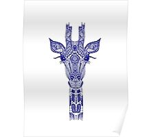 Blue Detailed Giraffe Poster
