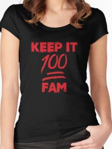 Keep it 100 fam - version 1 - Red Women's Fitted Scoop T-Shirt