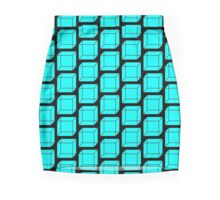 Cubes - Neon Light Blue Mini Skirt