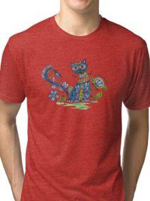 Folk Art Cat with Attitude Tri-blend T-Shirt