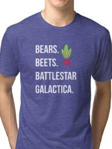 Bears. Beets. Battlestar Galactica. - The Office Tri-blend T-Shirt