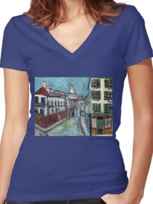 Paris Street(after Utrillo) Women's Fitted V-Neck T-Shirt