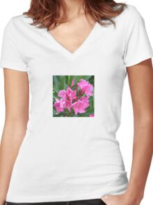 Pink Oleander Bouquet Closeup Women's Fitted V-Neck T-Shirt