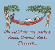 Hammock Sleeping Koala - My Holidays are packed One Piece - Short Sleeve