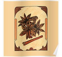 Art nouveau. Cinnamon and anise. Poster