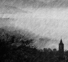 Pencil Sketch - Mist in the Valley - Assisi Sticker