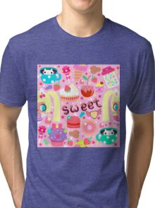 Cute pattern with sweets and kawaii little girl Tri-blend T-Shirt