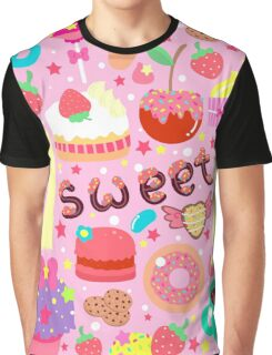 Cute pattern with sweets and kawaii little girl Graphic T-Shirt