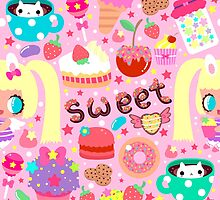 Cute pattern with sweets and kawaii little girl by Uchakina