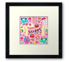 Cute pattern with sweets and kawaii little girl Framed Print