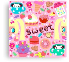 Cute pattern with sweets and kawaii little girl Canvas Print