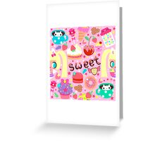 Cute pattern with sweets and kawaii little girl Greeting Card