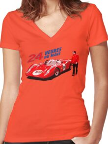 classic racing Women's Fitted V-Neck T-Shirt